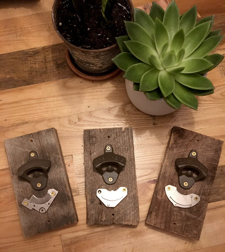 Magnetic Bottle Openers on barnwood [with magnets recycled from old computer hard drives]