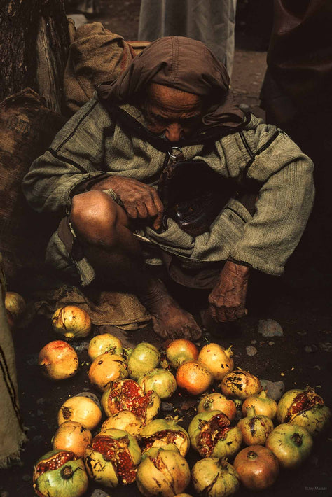 Elderly Man with Pomegranates, Marrakech