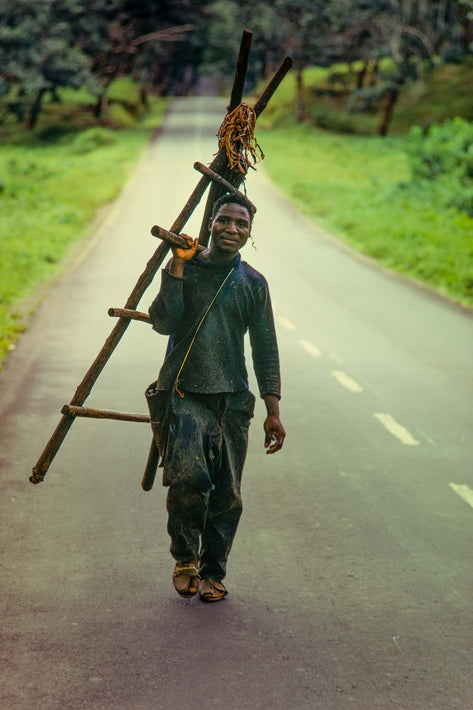 Man Walking with Ladder, Liberia