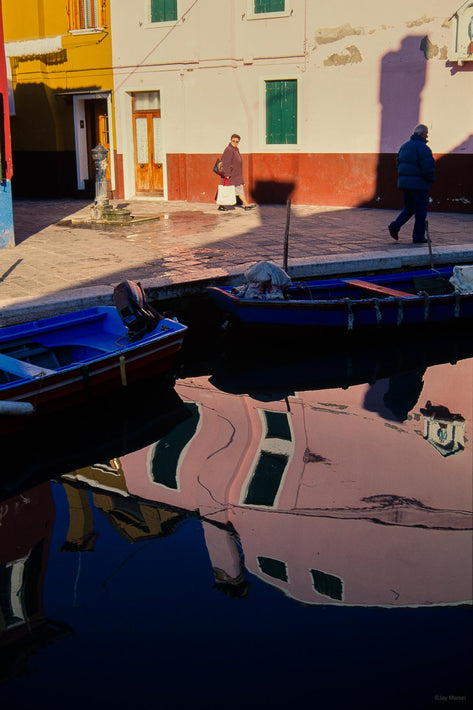 Two Figure, Building, Reflection in Canal, Burano