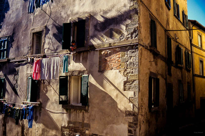 Side of Building, Woman and Laundry, Cortona