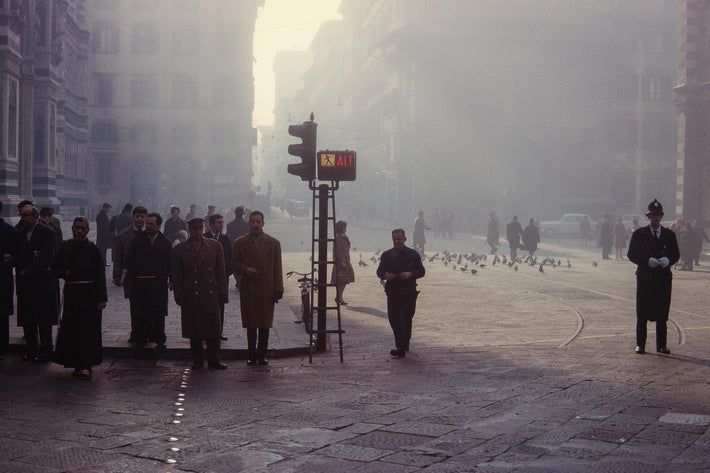 People in Street Silhouetted Against Fog, Milan