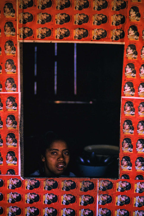 Woman Behind Red Pattern, Antananarivo
