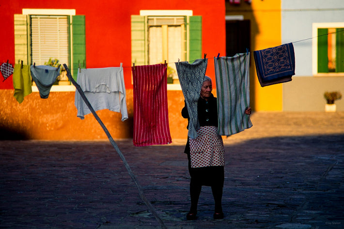 Woman in Street with Laundry, Burano
