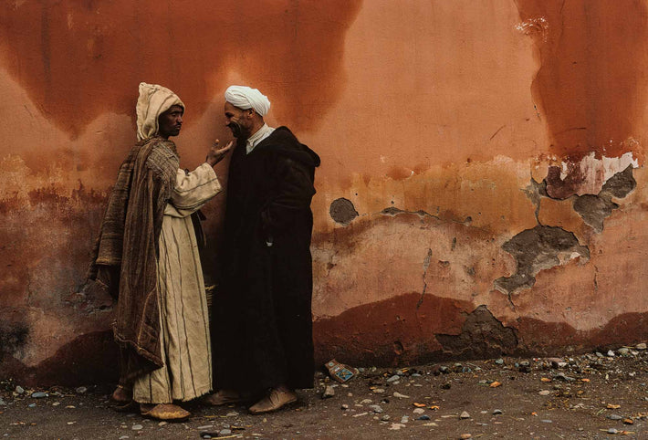 Two Men Standing Against Wall, Marrakech