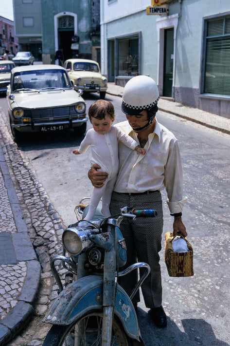 Man with Baby and Motorcycle, Portugal
