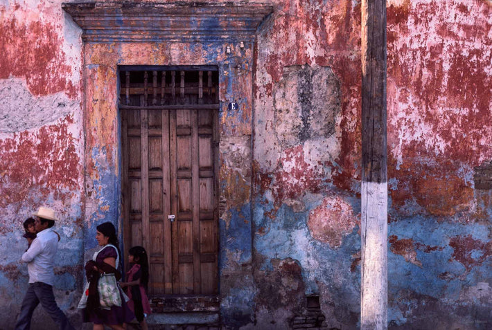 Family and Wall, Door and Telephone Pole, Oaxaca