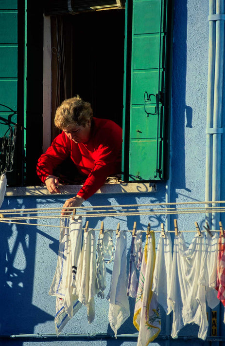 Woman in Red, Green Shutters, Laundry, Burano