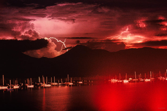 View of Boats, Mountains and Lightning, Australia