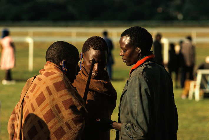 Three Masai at Racetrack, Kenya