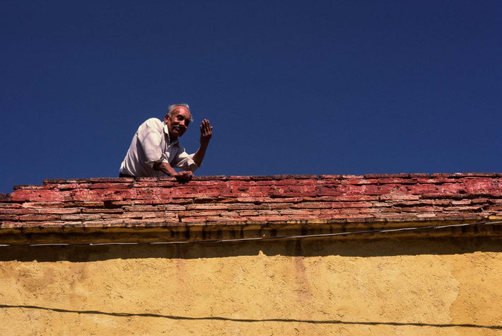 Man Waving from Rooftop, Oaxaca