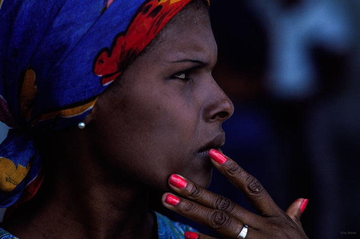 Woman, Blue Scarf, Red Nails, Bahia