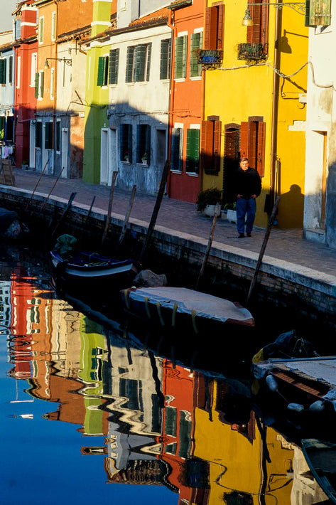 Houses Reflections, Man, Bright Colors, Burano