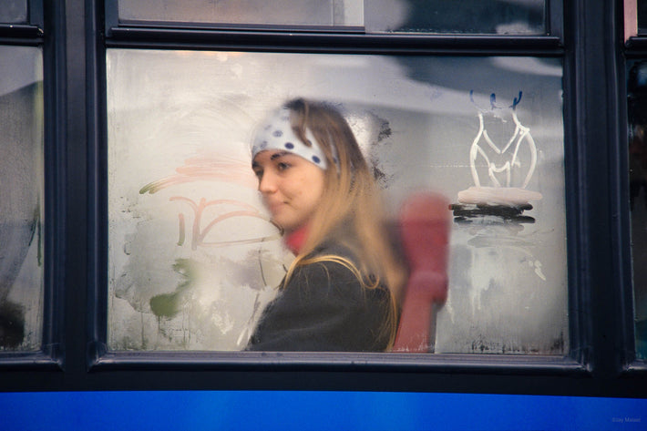 Girl in Bus, Graffiti on Window, Vicenza