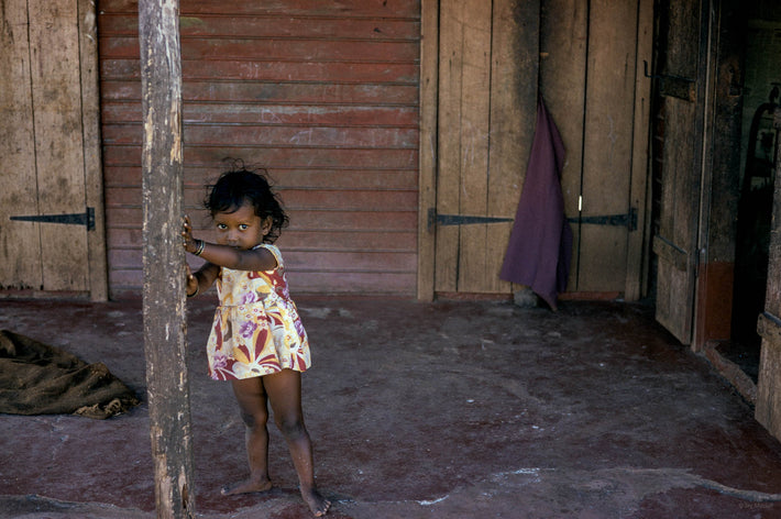 Child Leaning Against Pole, Mauritius