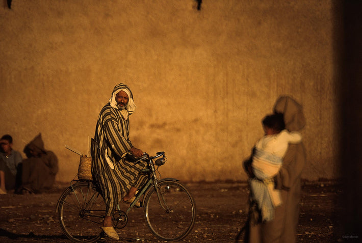 Man on Bike, Woman Carrying Child, Marrakech