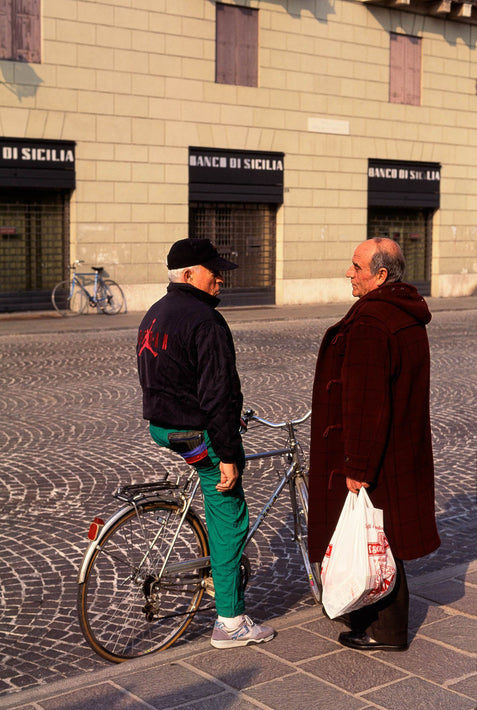 Two Men Talking, One on Bike, Vicenza