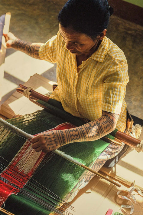 Tattooed Woman at Loom, Philippines