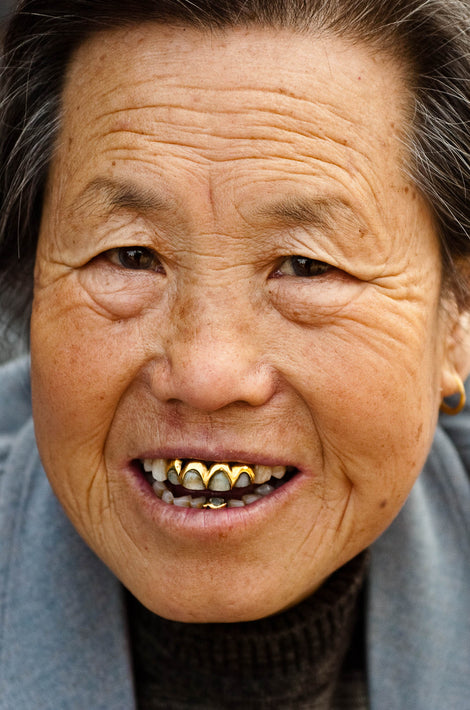 Head of Older Woman with Unique Gold in Teeth, Pingyao