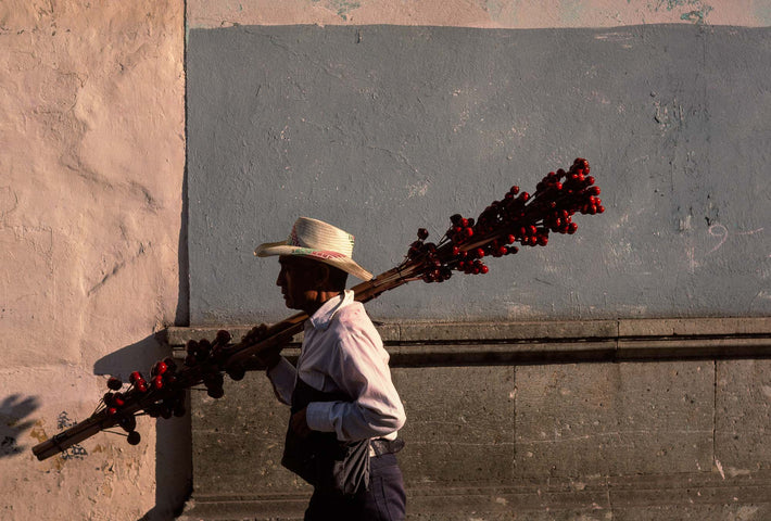 Man with Red Stuff on Sticks, Oaxaca