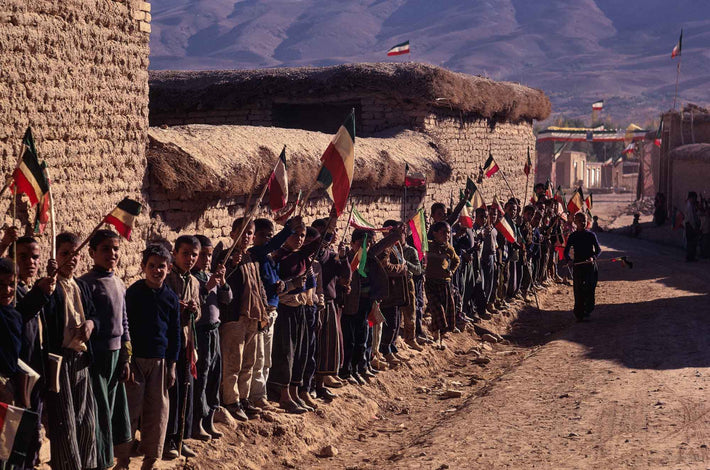 Children Lined up Against Wall with Flags, Iran