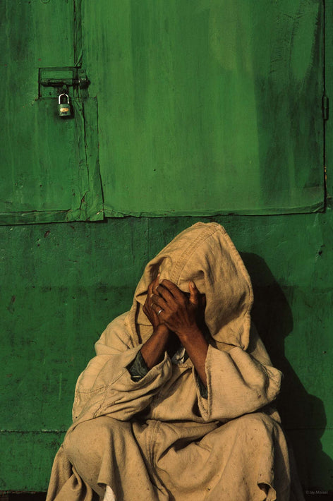 Man Against Green, Hands Covering Face, Marrakech