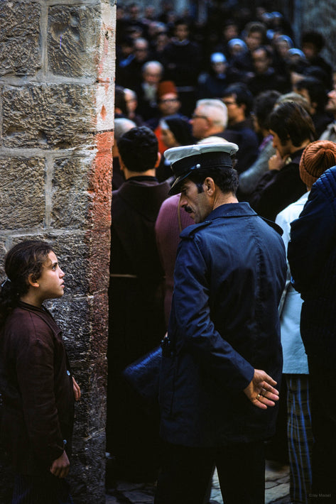 Police, Young Girl and Crowd, Jerusalem
