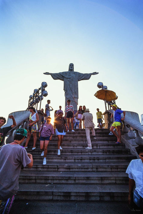 Tourist on Stairs to Christ the Redeemer Statue, Rio de Janeiro