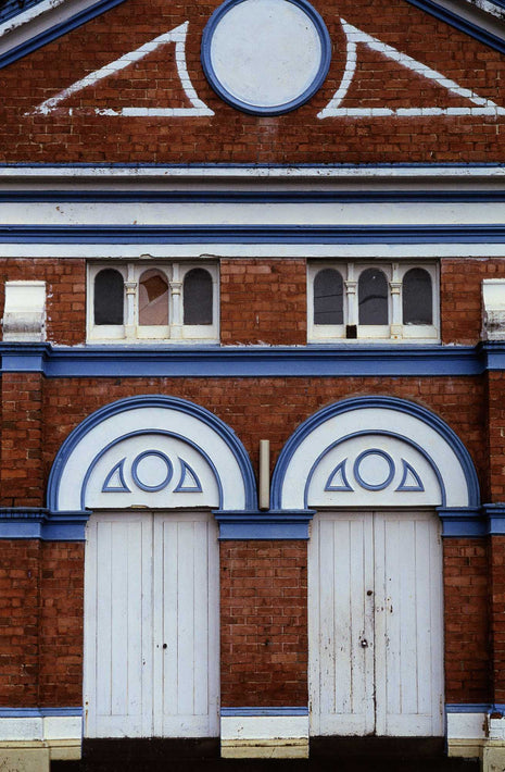 Facade Red Brick Blue and White Trim, Australia