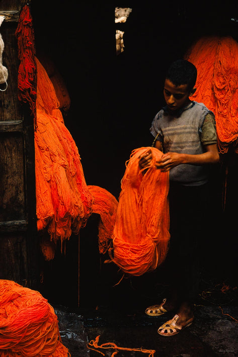 Young Boy with Orange Skeins of Yarn, Marrakech
