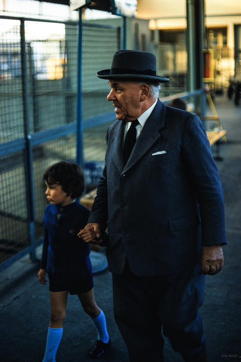 Older Man in Homburg  Hat and Kid