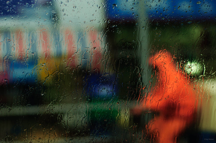 Rainy Window, Figure in Orange, Shanghai
