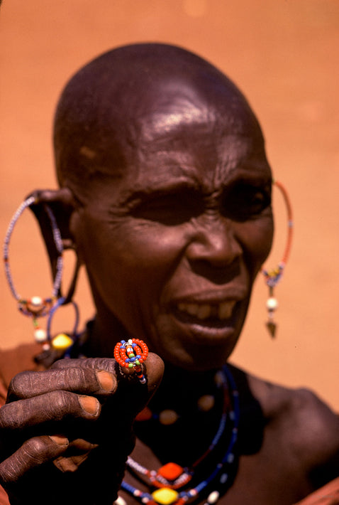 Older Masai with Rings, Kenya