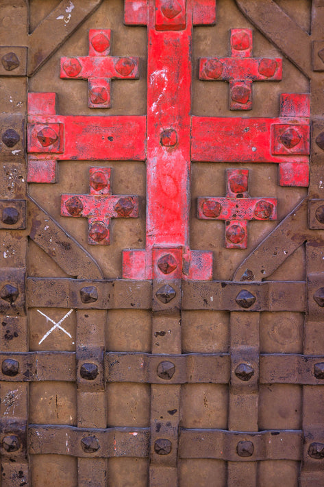 Iron Door with Red Cross