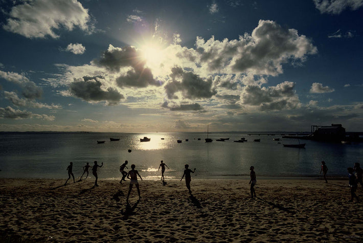 Kids Soccer, Silhouetted on Beach, Bahia