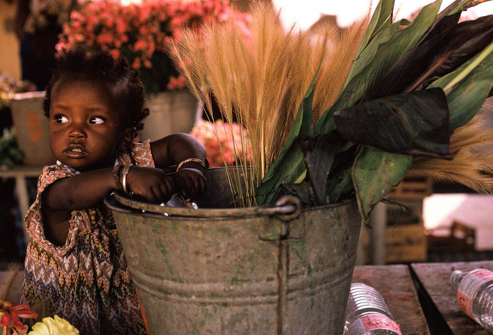 Child with Flowers in Bucket, Senegal