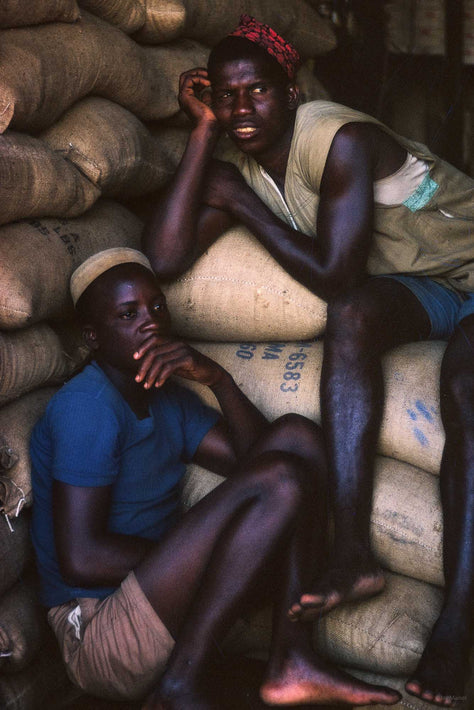 Two Men on Coffee Bags, Ghana