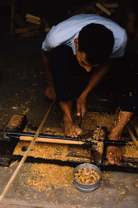 Man Making Wooden Parts, Feet Prominent, Marrakech