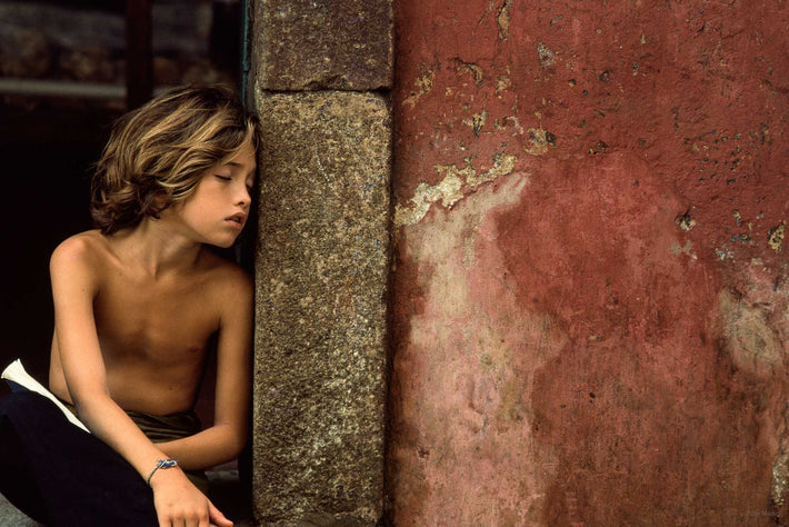 Young Boy Asleep Leaning on Wall, Bahia