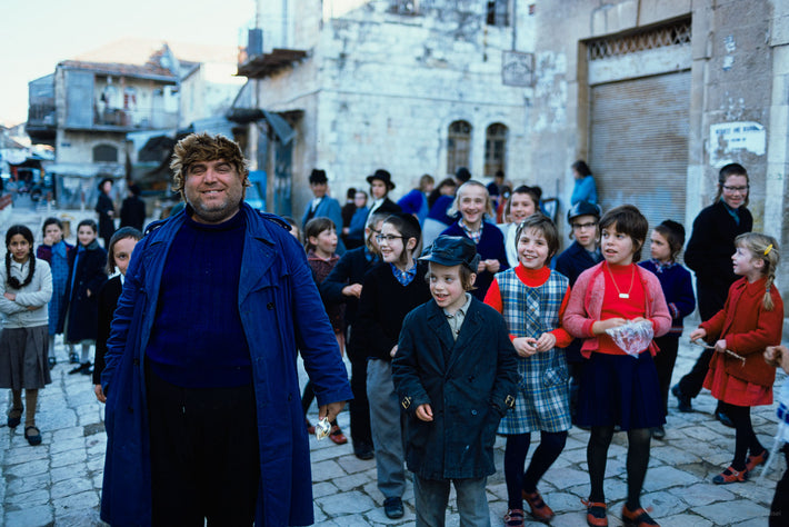 Man with Crowd of Kids, Jerusalem