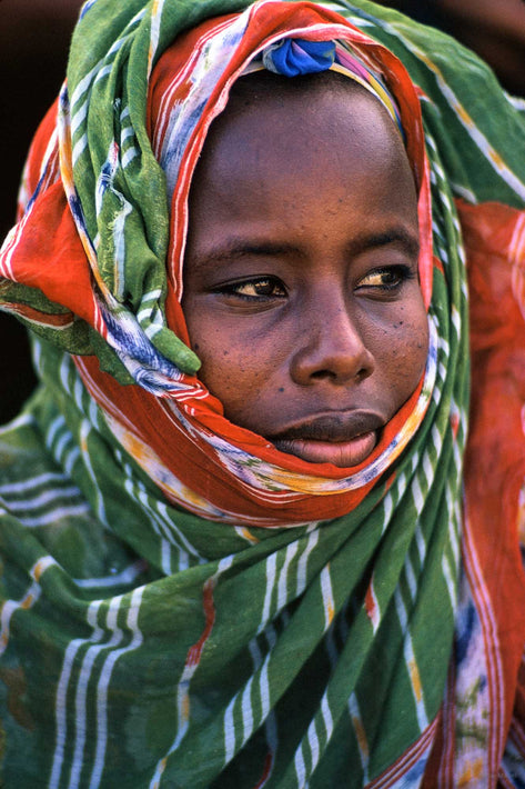 Young Woman in Green and White Stripes, Somalia