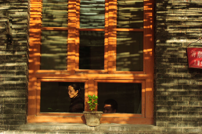 Woman, Man in Window, Pingyao