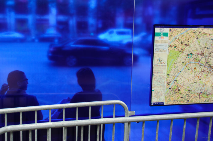 Blue Glass and Metro Map, Paris