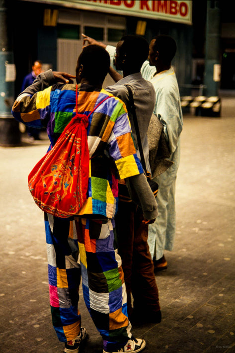 African Men, Multi-Colored in Train Station, Milan