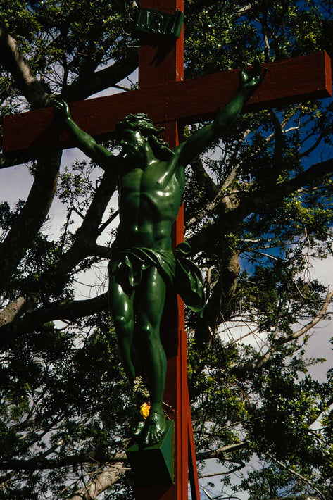 Green Christ Figure on Red Crucifix, Mauritius