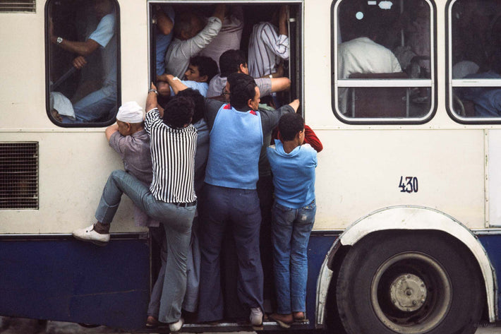 People Hanging off Bus, Egypt