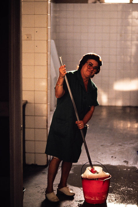 Woman Cleaning Restroom, Spain