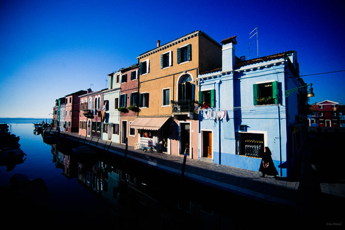 Wide Angle of Street, Canal, and Sky, Burano