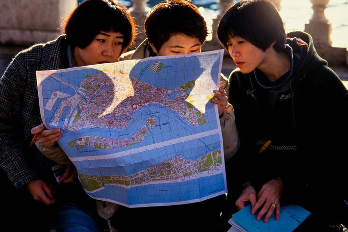 Three Tourists with Map, Venice