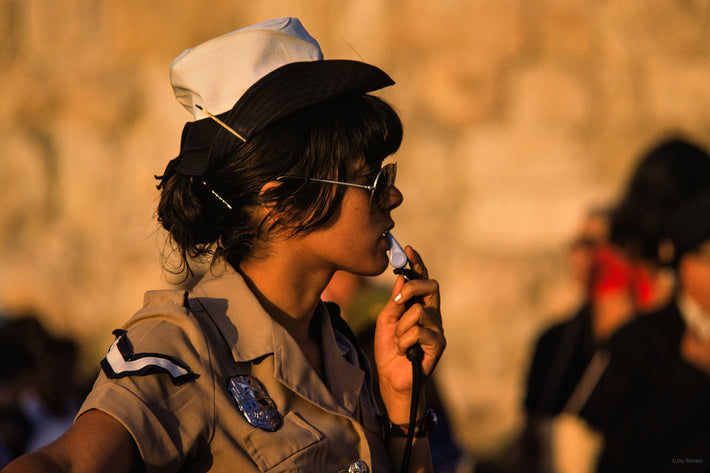 Woman Israeli Cop with Whistle, Jerusalem